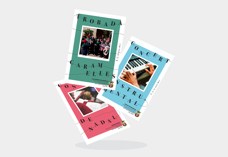 Disseny Grafic Cartells Programes Auditori Sant Cugat Sesgarrigues Vilafranca Penedes Conservatori Coral Caramelles - CORAL EL RAÏM - Disseny de la Identitat Gràfica d'aquesta entitat del Penedès