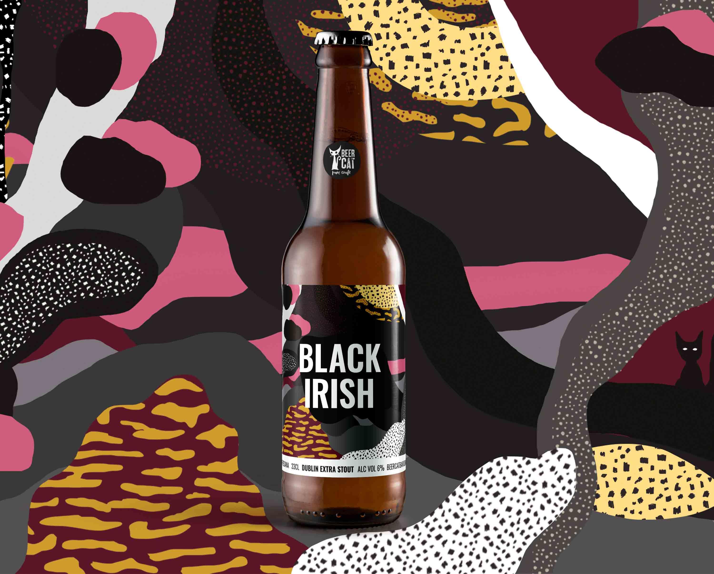 black irish craftbeer vilafranca penedes disculpi studio angels pinyol - BEERCAT - Il·lustracions i disseny per etiquetes cerveses artesanes