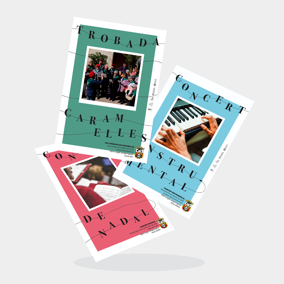 Jordi Gonzalez Josep Romeu Disseny Grafic Cartells Programes Auditori Sant Cugat Sesgarrigues Vilafranca Penedes Conservatori Coral Caramelles - Projectes – Àngels Pinyol - Disseny Gràfic i Comunicació Visual