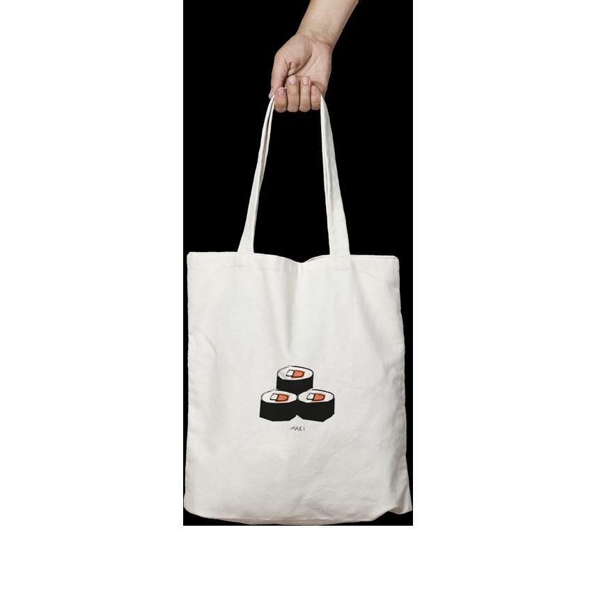 tote bag sushi maki angels pinyol disseny grafic penedes estampak serigrafia samarreta bossa  - IL·LUSTRACIONS ESTAMPADES EN BOSSES I SAMARRETES