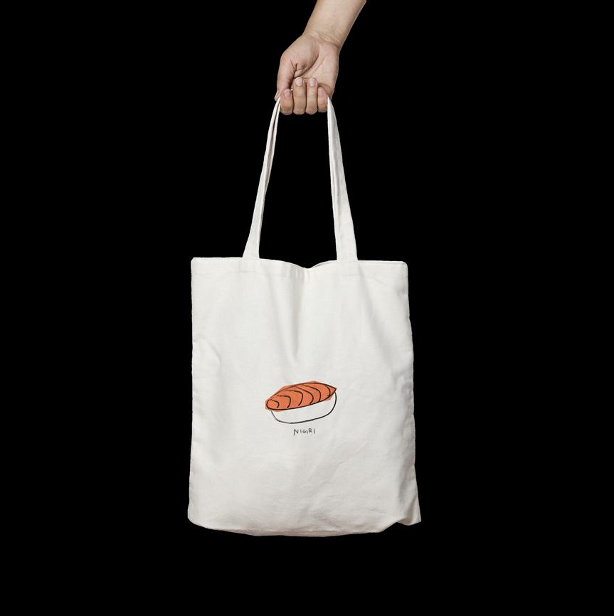 tote bag sushi nigiri angels pinyol disseny grafic penedes estampak serigrafia samarreta bossa - IL·LUSTRACIONS ÀNGELS PINYOL - VENTA - ENCÀRRECS