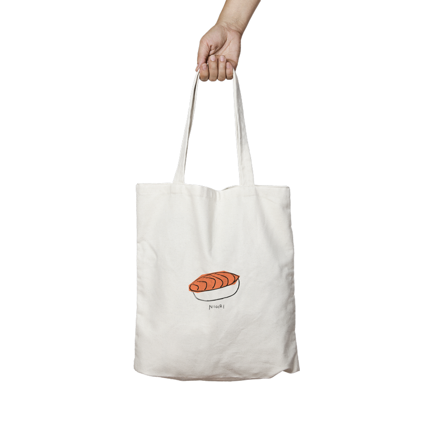 tote bag sushi nigiri angels pinyol disseny grafic penedes estampak serigrafia samarreta bossa - IL·LUSTRACIONS ESTAMPADES EN BOSSES I SAMARRETES