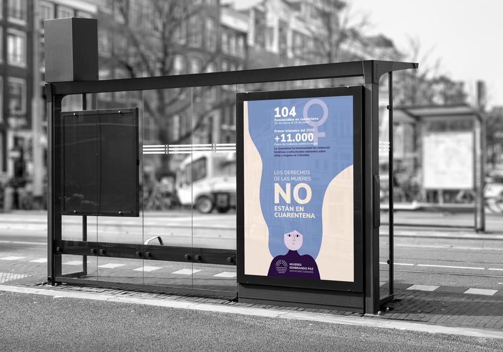 bus stop graphic design disculpi vilafranca penedes angels pinyol - MUJERES SEMBRANDO PAZ - Campanya, disseny grafic i infografies