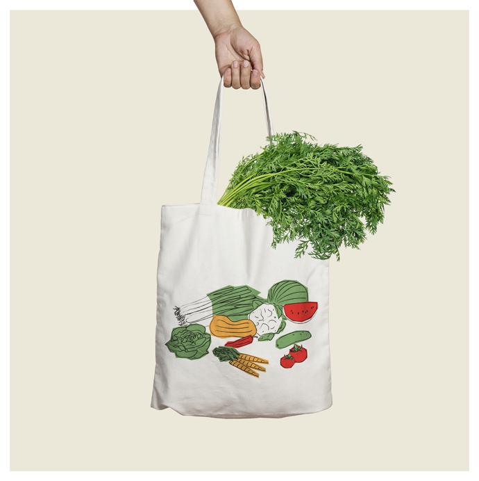 vegetables tote bag design go green angels pinyol vilafranca penedes disseny - IL·LUSTRACIONS ESTAMPADES EN BOSSES I SAMARRETES