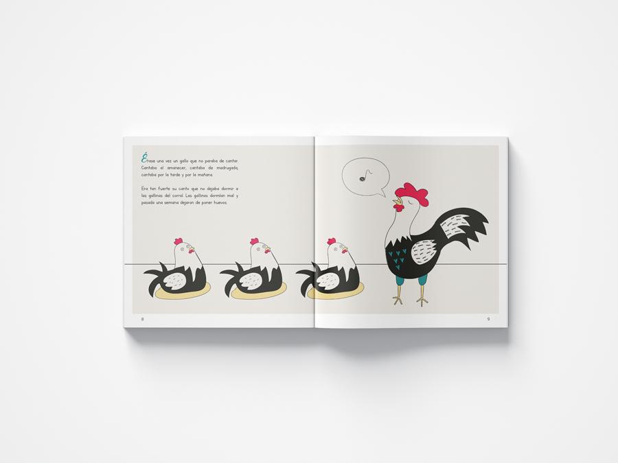 el gallo cantor graphic design tale angels pinyol editorial llibre infantil illustration vilafranca penedes disseny animals - EL GALLO CANTOR - Disseny Editorial i Il·lustracions Llibre Infantil
